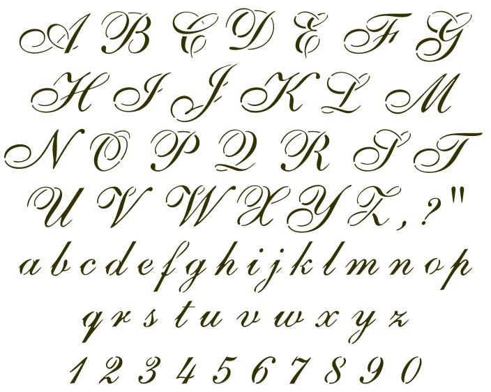 806 Cursive Alphabet - Click Image to Close