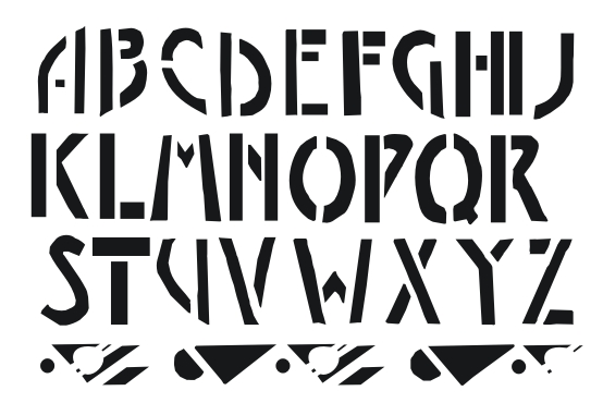 stenciled letters