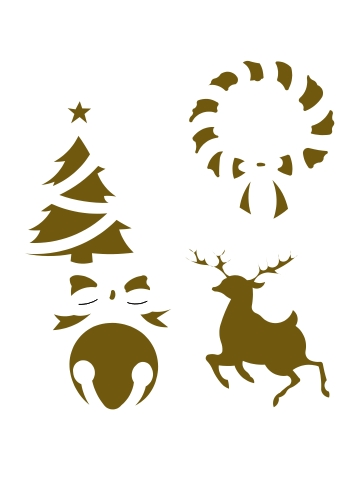 CBL66805 Reindeer/Bell/Tree/Wreath
