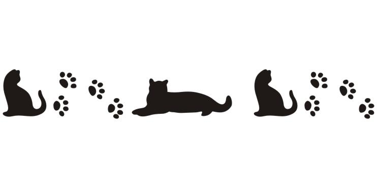 PRV72414 Kitty and Paw Border Print